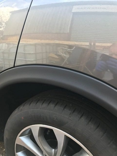 Repaired wheel arch